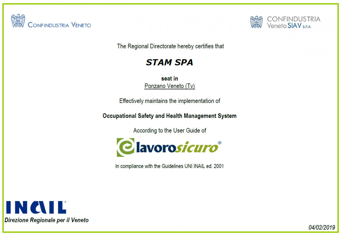 STAM confirms its commitment in Safety and Health